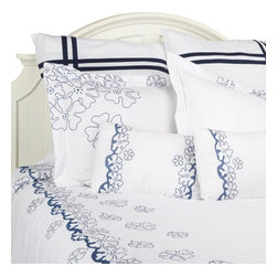 "Samantha 7-Piece Duvet Cover Set, King - This Duvet Cover Set features a delicate scattered flower pattern. The Blue and White contrast brings a sophisticated yet refreshing feel to any bedroom. Set includes one duvet cover 106""x92"", two pillow shams 20""x36"" each, two euro shams 26""x26"" each, and two breakfast pillows 12""x18""."