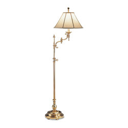 "Inviting Home - Swing-arm Floor Lamp with Adjustable Height - adjustable floor lamp; 16-1/4"" Wide; lamp height adjusts from 58-1/2"" to 72""H; Smart design and classic style makes this floor lamp extremely versatile. This beautiful floor lamp can be easily incorporated into traditional interiors. The combination of a swing arm and telescopic adjustable feature puts this floor lamp in the category of a very functional lighting fixtures. Longevity of the swing-arm floor lamp guaranteed by smart quality construction and solid brass material it's made of. The swing arm is designed with two scrolls connected to each other forming an elegant ""S""-shape contributing to it's overall elegant appearance of the floor lamp. Floor lamp has a antiqued finish massive round multilevel footed base and round piped fabric shade. Height of the floor lamp can be adjusted from 58-1/2"" to 72"". Swing arm floor lamp designed to accommodate one light bulb - max. 60 watts. Shade size: 6"" top; 16"" bottom; 8-1/2"" high; 10"" slant height"