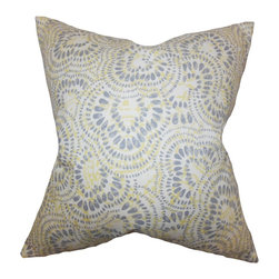 """The Pillow Collection - Glynis Floral Pillow Jonquil 18"""" x 18"""" - Add this throw pillow as a statement piece in your living room or bedroom. This accent pillow features a floral pattern in shades of blue, yellow and white. Lend support and comfort to your sofa, bed or couch by tossing this square pillow. Mix and match solids and other patterns to create a contemporary style. Made of 100% soft cotton fabric."""