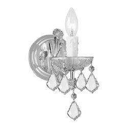 Crystorama Lighting Group - Maria Theresa Polished Chrome Wall Mount Draped In Hand Cut Crystal - - For centuries, Maria Theresa style of crystal chandeliers has been a sign of wealth, style, and class. In keeping with the time honored traditions of our European artisans, Crystorama's Maria Theresa collection offers a variety of finishes and crystal combinations. Shown here dressed in our popular Golden Teak crystal. Also available in clear crystal (Strass, Swarovski Spectra, or Majestic Wood Polished). Crystorama Lighting Group - 4471-CH-CL-MWP