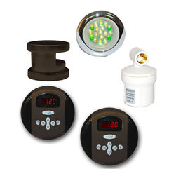Spa World Corp - Steam Spa Royal Accessory Bundle in Oil Rubbed Bronze - This Royal bundle includes all you need to get your Steam Spa Generator up and running providing you with a top of the line luxurious steam sauna bath with all the benefits and convenience. Included is the elegantly simple steamhead with an aroma reservoir. Just add a couple drops of your favorite fragrance and soon you will be enveloped with a soothing aroma scented steam. Also included is the essential single control panel. The control panel offers a digital display and allowing you to adjust the steam bath to your preference. Additionally, Steam Spa�s Chromotherapy light is also included providing the body very beneficial color light therapy promoting health and wellness. And finally this bundle includes the Steam Spa Water Filter which prevents mineral and bacterial deposits from ever building up. This bundle is tailored to work with the 4.5kW/6kW/7.5kW/9kW Steam Spa Steam Generators.