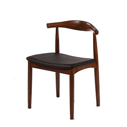 Fine Mod Imports - Fine Mod Imports Hansen Dining Chair in Walnut (Set of 2) - The Hansen Dining chair features traditional wood and is paired with a modern design in resulting in a unique piece for your home. The frame consists of Solid wood with a natural finish in a comfortably-curved backrest in and leather seat.
