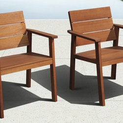 "Lamps Plus - Contemporary Set of 2 Amazonia Nelson Eucalyptus Chairs - Set of 2 Amazonia Nelson Eucalyptus Chairs. Nelson brown chairs. Set of 2 including cushions. Brown finish. Solid eucalyptus wood construction. Includes free Feron Gard Wood Preservative for protection. Long-lasting and sturdy. From the Amazonia collection. Some assembly required. 33"" high. 24 1/2"" wide. 24"" deep.   Nelson brown chairs.  Set of 2 including cushions.   Brown finish.  Solid eucalyptus wood construction.  Includes free Feron Gard Wood Preservative for protection.  Long-lasting and sturdy.  From the Amazonia collection.  Some assembly required.  33"" high.   24 1/2"" wide.  24"" deep."