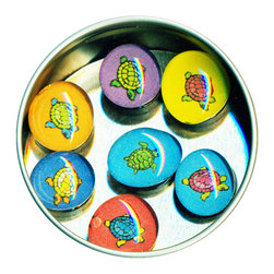 """Turtle Glass Gem Magnet Set - Handmade in our studio, our Turtle glass gem magnets started with tiny paintings which were reproduced and sealed under clear glass. We use super strong ceramic magnets, so they're not only cute, they're functional. (Unlike those magnets that fall off when you close the refrigerator door!) Each magnet is about 3/4 inch wide, the tin is 2.75"""" wide. Set of 7 in a tin. Made in the USA."""