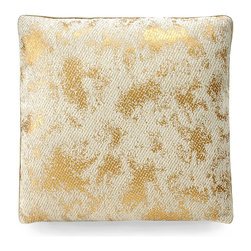 Gold Leaf Pillow - Ivory/Gold - A softened glimmer. A hint of glam. The Gold Leaf Pillow imparts both to the appointments of a metropolitan pied--terre, a sleek industrial loft, a great room of inspired eclectic decor. A lustrous amalgam of ivory and gold lends the pillow a refined aesthetic with an updated flair that enlivens a settee, sofa, occasional chair, or window seat.