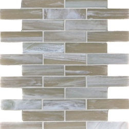 "Glass Tile Oasis - Mushroom Shimmer 1"" x 4"" Cream/Beige Pool Frosted Glass - Sheet size:  .87 Sq. Ft.   Tile Size:  1"" x 4""   Tiles per sheet:  30    Tile thickness:  1/4""   Grout Joints:  1/8""   Recycled Components:  20   Sheet Mount:  Paper Face    Sold by the sheet    - Brilliant transparent glass combed through with coordinating opaque colors  and featuring a contemporary smooth-edge. Each piece is hand-poured and unique  designed with a certain amount of variation and variegation of color  tone  texture and shade for a distinctive appearance. Our handmade process incorporates creases  wrinkles  waves  bubbles and other surface effects indicative of handmade glass  all designed to capture light and enhance the final beauty of the project."