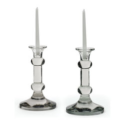 Go Home - Pair Of Glass Knobbed Candlesticks - Gorgeous Pair Of Glass Knobbed Candlesticks is an amazingly crafted with glass and has Hand blown finish.It will sure to give marvelous look to your home and it is sold as a Pair.