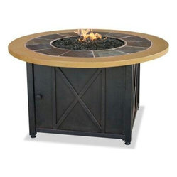 Gas Firebowl With Slate And Faux Wood Mantel Round