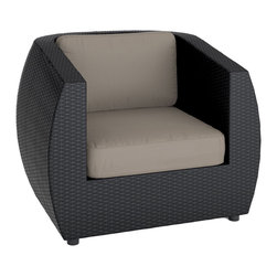 CorLiving - CorLiving Seattle Patio Chair in Textured Black Weave - Expand the indoors out to your patio deck this summer. It's easy to relax in the extra large CorLiving Seattle Collection. The PPS-601-C Chair features thick arm rests and a rounded deep back pillow design.