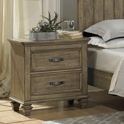Homelegance - Homelegance Sylvania 2 Drawer Nightstand in Oak Veneered Driftwood - Transitional styling lends itself to the classic design of the Sylvania Collection creating a warm and inviting look for your bedroom. Faux rivets feature prominently on the bed,dresser and mirror while the matte finish of the hardware provides a stylish contrast to the oak veneered driftwood finish of the collection. - 2298-4.  Product features: Sylvania Collection; Cottage Style; Dovetailed Drawers; Ball Bearing Side Glide; Oak Veneered Driftwood Finish. Product includes: Nightstand (1). 2 Drawer Nightstand in Oak Veneered Driftwood belongs to Sylvania Collection by Homelegance.