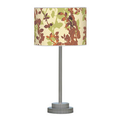 jefdesigns - Leaf 1 Stem Table Lamp - Beautiful and unique, this lamp will transport you to a calm forest scene, right in your own home. Overlapping leaf patterns of green and woodgrain add intrigue to the classic stem lamp shape with a modern, metal base.
