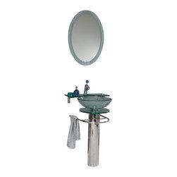 Fresca - Fresca Ovale Modern Glass Bathroom Vanity w/ Frosted Edge Mirror - Fresca Ovale Modern Glass Bathroom Vanity w/ Frosted Edge Mirror