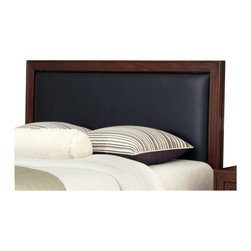 Home Styles - Home Styles Duet Queen Panel Headboard Black Leather Inset-King - Home Styles - Headboards - 5546601B - Create distinctive style with this modern Headboard. The Panel Headboard is accentuated with a Black Embossed Leather Panel inset and is padded for comfort.
