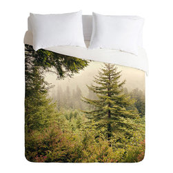 Atmosphere Duvet Cover - Imagine the peace and serenity of a misty morning in the woods. Seems like just the thing to add stylish tranquility to your bedroom. The Atmosphere Duvet Cover is a striking, photo-realistic, portrayal of a foggy forest, quiet and still, waiting for the sun to bring it to life. Curl up under the lightweight duvet, which features interior ties and a hidden zipper that make it easy to add a warm insert.