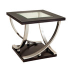 Standard Furniture - Standard Furniture Melrose Square Glass Top End Table in Rich Dark Merlot - Melrose has quietly chic modern styling with an organic synergy between its sweeping lines and geometric forms.