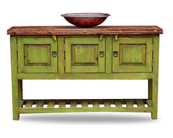 FoxDen Decor - Green Bathroom Vanity, 48x20x32 - This farmhouse bathroom vanity is a gorgeous vanity that comes in a variety of colors! The vanity pictured is 48x20x32  The wooden top has been coated with polyurethane to protect the wood from water damage. There is plenty of cabinet space underneath, and the bottom is a perfect place for decorative towels, baskets or anything else! Each item is custom made from scratch!