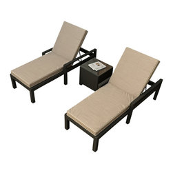 Forever Patio - Barbados 3 Piece Modern Chaise Lounge Set, Spectrum Mushroom Cushions - Summon the caterer! You won't want to leave the comfort of these comfy lounge chaises. You can turn your patio of deck into a first class retreat with the addition of this modern patio set. Beautiful yet durable enough to withstand Mother Nature herself. The cushions are sun and mildew resistant and the wicker frames practically repel dirt.
