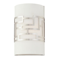 George Kovacs - Alecia's Necklace 1-Light Wall Sconce - This sconce gets an A+ in geometry. It pairs etched opal glass with a brushed nickel metal design. Use it to add a cool, contemporary look to your foyer, stairwell or hallway.