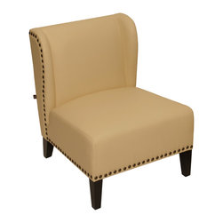Rissanti - Lugano Accent Chair - French Vanila - The traditionally made rissanti lugano wing chair in a choice of French vanilla or saddle with contrasting solid wood legs in espresso color gives a classic look to the chair that will blend in well with almost any decor or style. Upholstered in smooth and luxurious bonded leather gives it a lovely touch of class and elegance. Sculptured with a broad back and offering a wide seating space will let you sink into this soft plump chair allowing you to relax and put your feet up after a long, tiring day. The attractive and comfy highback and firm cushioning finished with antique brass nail head trim gives the rissanti lugano wing chair a very original and unique look, making it stand out from the rest of the furniture in your room.
