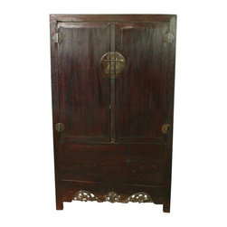 Pre-owned Antique Chinese Armoire Cabinet Carved Wardrobe - A beautiful Antique Cabinet Wardrobe Armoire in fir and elm dating to 1880 from the Hebei Province and featuring two carved dragons along the bottom apron and striking full moon hardware. This Antique Chinese Cabinet has the four side square design known as si ping. Long ago, woodworkers would place a thick layer of linen and clay under the lacquer finish in order to protect the wood, known as pima hui. As the piece ages, the clay slides and creates a leather-like look and texture to the finish, which this Antique Chinese Cabinet reveals. This wonderful Antique Chinese Cabinet is both attractive and functional. The central stile can be removed in order to fully use the large storage space at the bottom of the cabinet.    Overall condition is restored. Shows normal wear to the original natural tree lacquer finish, wood separations on both front doors and near the base on both sides, and miscellaneous nicks, dings, and scratches due to age and use. The outside has been completely restored and clear coat refinished. The interior shelving unit was broken and has been refinished and restored.