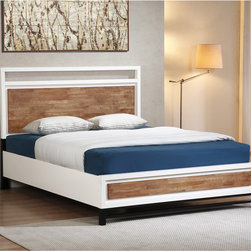 None - Henna Tri-tone Queen Platform Bed - The Henna queen platform bed will breath new life into your bedroom motif. The minimalist design is highlighted by a white frame with Home oak head and footboard panels set atop black-finished feet.T his bed is designed for use without a box spring.