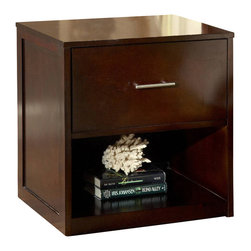 Modus Furniture - Modus Modera 2-Drawer Nightstand in Chocolate Brown - The combination of sleek lines, oversized drawers and quality construction make Madera from Modus the ultimate value statement in bedroom furniture.
