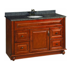 """DHI-Corp - Montclair Chestnut Glaze Vanity Cabinet with 1-Door and 4-Drawers, 48"""" by 21"""" - The Design House 538561 Montclair Chestnut Glaze Vanity Cabinet is made of solid wood door and drawer frames and finished in a chestnut glaze with a water resistant coat. This product features oil rubbed bronze hardware, particle board side panels and concealed hinges. Add an additional shelf inside this cabinet for even more storage. Measuring 33.5-inches by 21-inches by 48-inches, this vanity fits in a medium sized bathroom while providing ample storage space. With its ball bearings, the full extension drawer glides open smoothly. This product comes pre-assembled and features a modern aesthetic that matches traditional furnishings and granite tops. Vanity top is not included with this product. The Design House 538561 Montclair Chestnut Glaze Vanity Cabinet has a 1-year limited warranty that protects against defects in materials and workmanship. Design House offers products in multiple home decor categories including lighting, ceiling fans, hardware and plumbing products. With years of hands-on experience, Design House understands every aspect of the home decor industry, and devotes itself to providing quality products across the home decor spectrum. Providing value to their customers, Design House uses industry leading merchandising solutions and innovative programs. Design House is committed to providing high quality products for your home improvement projects."""