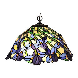 Chloe Lighting - Iris Pendant - Note: Shade colors will appear darker and less vibrant when not illuminated.. The handcrafted nature of this product creates variations in color, size and design. If buying two of the same item, slight differences should be expected.. This stained glass product has been protected with mineral oil as part of the finishing process. Please use a soft dry cloth to remove any excess oil. . Due to the nature of stained-glass, colors may vary. This Tiffany style 2 light hanging pendant has a Iris design. Uses 2 x 60W medium base bulbs, not included. Dimensions: 19 inch diameter x 12 inches tall. UL approved. Colors: Shades of blue, white, beige, green and gold.. Product is hand made, so the color may vary slightly from image. This product contains lead, a chemical known to the state of California to cause cancer, birth defects, and other reproductive harm if ingested