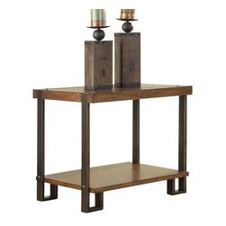 Homelegance - Homelegance Northwood Rectangular End Table in Natural Brown - Blending industrial with natural elements creates a warm and inviting look for the Northwood collection. Mindi veneer is finished with a natural brown hue blending effectively with the contrasting metal banding accent. Carriage rivet accents lend to the industrial feel. Lower display shelving features prominently on each piece providing additional function to the collection. Three cocktail table options: Rectangular cocktail table, round cocktail table and round cocktail table with 2 ottomans, all feature functional casters for easy movement.