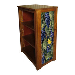 Kelseys Collection - Book cabinet 3 shelf Vineyard Goldfinches - Book cabinet in solid pine features three adjustable storage shelves with two giclee prints on the side panels, showcasing Rosemary Millette artwork. The giclee print have three coats of UV inhibitor. Dimensions are 33BY22BY12 Net weight 20 pounds. Three adjustable shelves. Estimated assembly time 20 minutes.