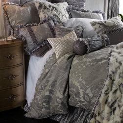 """Dian Austin Couture Home - Faux-Fur Throw w/ Shirred Velvet Edge 48"""" x 72"""" - Dian Austin Couture HomeFaux-Fur Throw w/ Shirred Velvet Edge 48"""" x 72"""""""