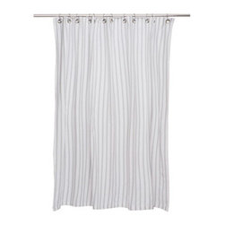 Grandin Road - Thin Stripe Shower Curtain - Classic striped shower curtain. Woven from 100% lightweight cotton. Detailed with metal grommets for hanging. Use with a shower liner; shower curtain hooks not included. Imported. Beautify your bath with the classic, Thin Stripe shower curtain; with a design inspired by the clean lines of traditional seersucker, this clean, striped pattern blends perfectly with most any style of bathroom decor. Each is woven from 100% lightweight cotton and hangs meticulously by metal grommets.. . . . .