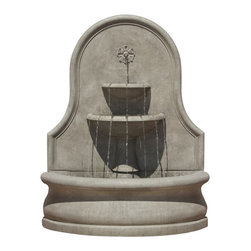 Campania - Estancia Outdoor Water Fountain - This outdoor wall fountain is a great way to add the serenity of a fountain without taking up a large space. Simply place this fountain against any wall, plug it in, add water, and enjoy. The Estancia Fountain is highly durable and is sure to last for generations to come, give your family a serene hangout spot for this summer!