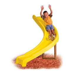 Swing-n-Slide - Side Winder Slide - Your children will love the thrill of negotiating the 90 degree curve of this slide! It mounts to 3'6'' - 5'6'' platforms and requires one 2'' x 4'' x 12' piece of lumber for mounting. It is also rated to hold up to 250 lbs of weight, so adults can enjoy the ride too! Features: -Sidewinder slide mounts to 3'6'' - 5'6'' platform.-Requires an extra piece of lumber approximately 2'' x 4'' x 12' in size for mounting.-Rated to hold up to 250 lbs.-Lumber NOT included.-Product Type: Swing set slide.-Collection: Side Winder.-Hardware Finish: ACQ coated steel.-Distressed: No.-Powder Coated Finish: No.-Gloss Finish: No.-Material: Plastic -Material Details: HDPE..-Hardware Material: Steel.-Pieces Included: Slide and Hardware.-Weather Resistant: Yes -Weather Resistant Details: Weather Resistant Finish..-Water Resistant: Yes -Water Resistant Details: Water Resistant..-Crack Resistant: Yes.-Scratch Resistant: Yes.-Heat Resistant: Yes.-Fade Resistant: Yes.-UV Resistant: Yes.-Mildew Resistant: Yes.-Non-Skid: No.-Fire Resistant: Yes.-Puncture Proof: Yes.-Non Toxic: Yes.-Lead Free: Yes.-Age Recommendation: 3-10 years.-Gender: Unisex.-Number of Participants: 1.-Tunnel: No.-Hand Rails: Yes.-Enclosed Slide: No.-Sliding Type: Curved.-Curved Degree: 90.-Number of Slides: 1.-Foldable: No.-Leg Supports: No.-Pool Included: No.-Inflatable: No.-Deck Included: No.-Stairs Included: No.-Safety Net: No.-Built In Sprayer: No.-Weight Capacity: 250.-Indoor Use: No.-Commercial Use: No.-Recycled Content: No.-Eco-Friendly: No.-Product Care: Clean with soap and water.-Country of Manufacture: United States.Specifications: -ADA Compliant: No.-ASTM Compliant: Yes.-CALGreen Compliant: Yes.-Greenguard Certified: No.-CPSIA or CPSC Compliant: Yes.-CPSI Certified: No.-GOTS Certified: No.-JPMA Certified: No.-eko-Tex Standard Compliant: No.-UL Listed: No.-Lacey Act Compliant: No.-Health Canada Compliant: Yes.-NRPA Certified: No.-NPSI Certified: No.-IPSI Certified: No.Dimensions: