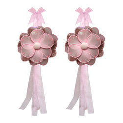 "Bugs-n-Blooms - Set of 2 Flower Curtain Tie Backs, Brown Pink - Window Curtains Holder Holders Tie Backs to Decorate for a Baby Nursery Bedroom, Girls Room Wall Decor - 5"" Diameter Pink Purple Green Hailey Curtain Tieback Set Flower 2pc Pair - Beautiful window curtains tie backs for kids room decor, baby decoration, childrens decorations. Ideal for Baby Nursery Kids Bedroom Girls Room.  These nylon fabric flowers are embellished with sparkling flower & round shaped sequins & sparkling glitter, and have a different colored top petal, bottom petal and fabric center to make this a unique designed flower tie back. This pretty daisy flower decoration is made with a soft bendable wire frame & have color match trails of organza ribbons. Has 2 thick color matched organza ribbons to wrap around the curtains. Please note: Sizes are approximate and are handmade and variances may occur. Price is for one pair (2 piece)"