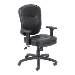 "Boss - Black Leather Task Chair With Wild Arms - Mid-back task chair with extra large seat and back cushions. Beautifully upholstered in black LeatherPlus. LeatherPlus is leather that is polyurethance infused for added softness and durability. Pneumatic gas lift seat height adjustment. Adjustable tilt tension control. Large 27"" nylon base for greater stability. Upright locking position. Hooded double wheel casters. ""Wild arms"" which can be adjusted in six directions (up, down, forward, backward, pivot left, pivot right. ) Fabric Type: LeatherPlus; Cushion Color: Black; Frame Color: Black; Weight Capacity: 250 lbs; Seat Size: 20"" W x 20"" D; Seat Height: 19.5""-23"" H; Arm Height: 27.5""-33.5"" H; Overall Size: 26.5"" W x 27"" D x 40.5-44"" H"