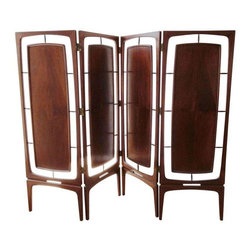 Pre-owned Unique Mid-Century Modern Screen - Gorgeous and extremely rare mid-century four-panel walnut sculpted screen. This is a piece that we can almost guarantee that you will see NOWHERE else!