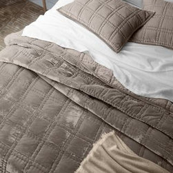 Eileen Fisher - Eileen Fisher Hand-Stitched Velvet Quilt - Double/Queen - Oyster Gray - This Eileen Fisher quilt features the luxuriously cozy, irresistibly plush touch of velvet, hand-quilted and backed in soft cotton sateen. Block stitching adds geometric interest and lofts the quilt's fill. Velvet binding and mitered corners. Sham is quilted on the front and has a cotton sateen back with sateen-covered buttons. Poly fill. By Eileen Fisher Home Exclusively by Garnet Hill.