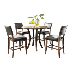 "Hillsdale Furniture - Hillsdale Cameron 5-Piece Round Counter Table Set with Parson Stools - Hillsdale's Cameron collection beautifully combines a warm chestnut brown wood finish with a dark grey metal and offers a multitude of choices to create the perfect counter height dining group for your home. Starting with the non-swivel stools, you have the choice of three lovely designs: The X-Back stool combines a warm chestnut brown top accent with a transitional metal X in the center of the back and a brown faux leather seat. The parson's stool is traditional in design and combines the warm chestnut brown finish with the brown faux leather seat. The ladder back stool features 3 rungs in the chestnut brown finish, enhanced by the dark grey metal and brown faux leather seat. Now that you have decided on your stool, let's look at the table options: The stunning rectangle table features a wood top that is generously scaled to easily accommodate 6. The round wood table is 42"" in diameter and features a wonderful metal accent on the base."