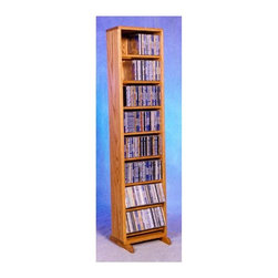Wood Shed - 12.25 in. Dowel CD Storage Tower (Unfinished) - Finish: UnfinishedEight shelves. Capacity: 208 CD's. Made from solid oak. Honey oak finish. 12.25 in. W x 12.25 in. D x 53 in. H