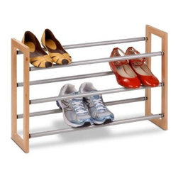 Honey Can Do - Honey-Can-Do 3 Tier Adjustable Wood and Metal Shoe Rack - Customize your shoe storage with this versatile 3-tier shoe rack. As your shoe collection grows, the rack expands from 25 inches to 46 inches wide. Plus, the stackable design means you can add multiple racks for even more storage without taking up more floor space. The sturdy metal and wood frame is rust-resistant and coordinates nicely with any decor. Some assembly required.