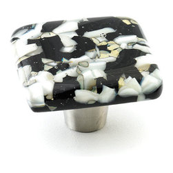 """Windborne Studios - Pebbles Glass Knobs and Pulls, Black Speckle, 1.5"""" Square - The """"Pebbles Collection"""" is inspired by Northern Michigan Shorelines."""