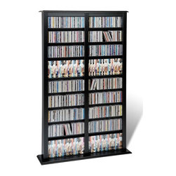Prepac - Double Barrister Tower in Black Finish - Store your DVDs, CDs, VHS tapes, and game cases within this modern and attractive media storage barrister with adjustable shelves. It can hold up to 800 jewel cases, or be arranged to fit your personal preferences and media collection. Adjustable shelves holds variety of media sizes. Capacity: 782 CDs, 378 DVDs, 640 Blu-Ray discs and 224 VHS cassettes. Warranty: Five years. Made from CARB-compliant, laminated composite woods with sturdy MDF backer. Made in North America. Minimal assembly required. 39.5 in. W x 9.5 in. D x 63.75 in. HKeep your storage options flexible with the Double Width Barrister Tower. With this product, your collection has space to grow.