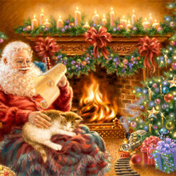 Murals Your Way - Christmas Dreams Wall Art - Santa, wearing a red sweater, is enjoying some quiet time as he relaxes by the fireplace in his Christmassy living room