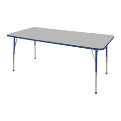 "Ecr4kids - Ecr4Kids Adjustable Activity Table - Rectangular 36"" X 72"" Elr-14113-Gbl-Tb Blue - Table tops feature stain-resistant and easy to clean laminate on both sides. Adjustable legs available in 3 different size ranges: Standard (19""-30""), Toddler (15""-23""), Chunky (15""-24""). Specify edge banding and leg color. Specify leg type."