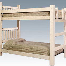 "Montana Woodworks - Homestead Bunk bed, Twin/Twin, Lacquered - From Montana Woodworks, the largest manufacturer of handcrafted, heirloom quality rustic furnishings in America comes the Homestead Collection line of furniture products. Handcrafted in the mountains of Montana using solid, American grown wood, the artisans rough saw all the timbers and accessory trim pieces for a look uniquely reminiscent of the timber-framed homes once found on the American frontier. The Homestead bunk bed by Montana Woodworks is a classic of design and build. Skilled craftsmen patiently craft and hand assemble each sub assembly ensuring the bed will last a lifetime. Mortise and tenon joinery throughout. For safety reasons, the upper and lower bunks cannot be separated. Headroom between lower and upper bunks is approximately 44 inches. Footboard features a built in ladder. Some assembly required. 20-year limited warranty included at no additional charge. Hand Crafted in Montana U.S.A.; Solid, U.S. grown wood; Timbers and Trim Pieces are Sawn Square for Rustic Timber Frame Design Appearance; Heirloom Quality; 20 Year Limited Warranty; Durable Build, Fit and Finish; Each Piece Signed By The Artisan Who Makes It; Mortise and Tenon Joinery; Two Twin Sized Poly-Deck Mattress Supports Included. Dimensions: 44""W x 87""L x 74""H"