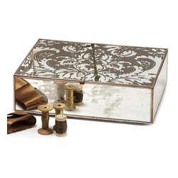 Damask Cigar Box - Chocolate - Enjoy the elegant gleam of the Damask Cigar Box in Chocolate, the showpiece from a line of mirrored home accessories that recall the use of reflective surfaces to bring light and style to the palaces of seventeenth-century kings.  A perfect place for a deck of cards, for a few toilette essentials, or, of course, for imported Havana cigars, the box is detailed on the lid with a botanical antique damask print in a decadent brown hue.