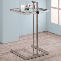 Coaster - Adjustable Snack Table, Chrome - This glass top snack table can adjust in height at four levels. Base finished in chrome.
