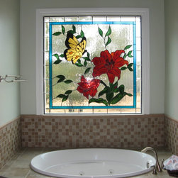 Custom art glass/ stained glass - A contemporary stained glass window in earth tones