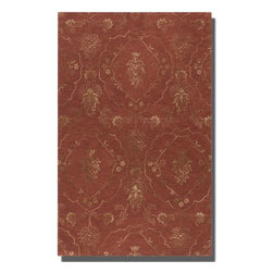 Uttermost - Uttermost Geneva 8 x 10 Rug - Crimson 73044-8 - Crimson Wool And Viscose Blend Accented With Weathered Olive Taupe Details.